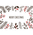 hand drawn winter christmas frame floral ornate vector image