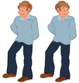 Happy cartoon man standing in blue pants vector image vector image