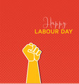happy international labour day on red background vector image vector image