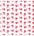 heart and crossbones seamless pattern vector image vector image