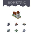 isometric architecture set of warehouse chapel vector image vector image