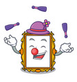 juggling picture frame mascot cartoon vector image