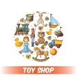 Kids Toys Round Composition vector image