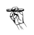male hand holding burning cuban cigar vector image