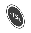 minus 15 percent sale black emblem icon isometric vector image