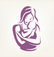 mother and baby stylized symbol childcare logo vector image vector image