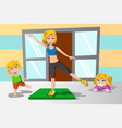 mother and her kids exercise vector image