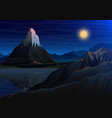 mountain matterhorn night panoramic view of peaks vector image