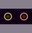 neon circle frame in yellow and orange color vector image