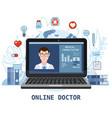 online doctor men healthcare concept icon set vector image vector image