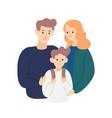 parents hug and support child on his first day vector image vector image