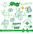 patrick day calligraphy set 380 vector image
