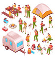picnic barbecue isometric icons vector image