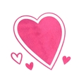 Pink watercolor hearts vector image