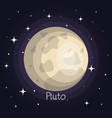 pluto planet in space with stars shiny cartoon vector image vector image