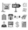realtor agency monochrome icons in set collection vector image