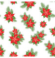 red poinsettia flower pattern seamless christmas vector image vector image