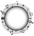 round frame with musicnotes and gray background vector image vector image