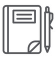 school notebook line icon paper and education vector image