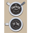 set cups for coffee and tea with ornament vector image