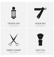 set of 4 editable barbershop icons includes vector image vector image