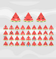 Set of cute fruit smiley watermelon emoticons