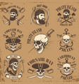 set of pirate emblems on grunge background vector image vector image