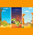 set of three dinosaurs with prehistoric background vector image vector image