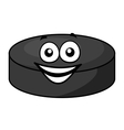 Smiling cartoon hockey puck vector image vector image