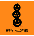 Three black silhouette funny smiling pumpkins Cute vector image