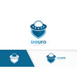 ufo and shield logo combination spaceship vector image vector image