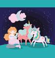 unicorns playing with mermaid characters magic vector image vector image