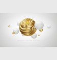 white and golden metal organic shape 3d sphere vector image vector image