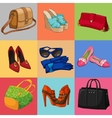 Women bags shoes and accessories collection vector image vector image