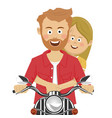 young couple riding motorcycle smiling vector image