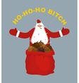 Bad evil Santa Claus Amoral Santa with cigar Red vector image