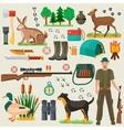 Hunter tourist man male tools and equipment stuff vector image
