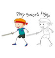 a doodle boy playing sword fight vector image vector image