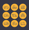 Agricultural machinery icons in linear style vector image