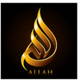 allah gold arabic calligraphy vector image