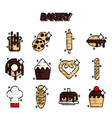 bakery flat icons set vector image vector image