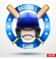 Baseball ball and helmet with ribbons vector image vector image