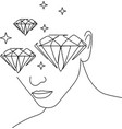 beautiful young woman in earring continuous line vector image