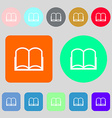 Book sign icon Open book symbol 12 colored buttons vector image