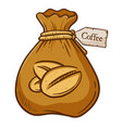 brown bag full of coffee bean vector image vector image