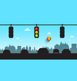 car silhouettes with traffic lights and skyline vector image vector image
