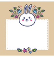 Card background with rabbit flowers and space for vector image vector image