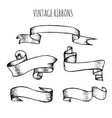 collection vintage hand drawn ribbons made vector image