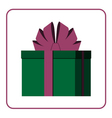 Colorful wrapped gift box icon green vector image