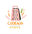cooking studio logo design emblem with grater can vector image vector image